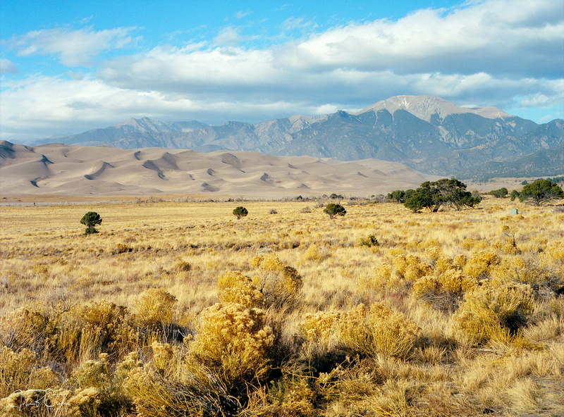 Sangre de Cristo Range over Great Sand Dunes National Park and Preserve, San Luis Valley, Colorado.