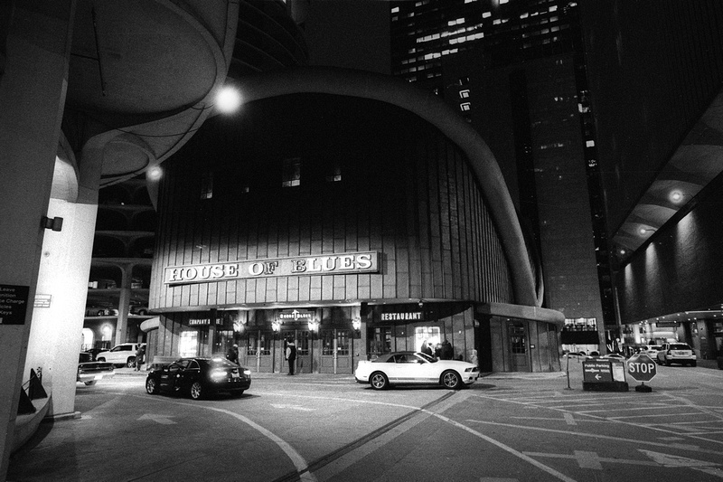 House of Blues, Chicago, Illinois Part of the Chicago at Night Series from December, 2016. Images made hand-held pushing Ilford HP5+ to ISO1600. Developed in Ilford DDX.