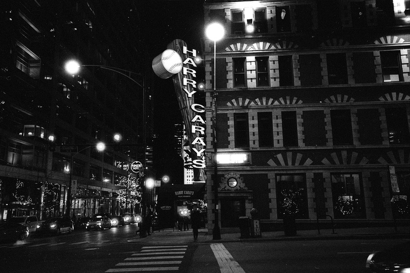 Harry Caray's, Chicago, Illinois Part of the Chicago at Night Series from December, 2016. Images made hand-held pushing Ilford HP5+ to ISO1600. Developed in Ilford DDX.