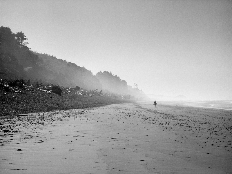 A lone beach-comber enjoys the peace and solitude of Olympic National Park's Beach One.